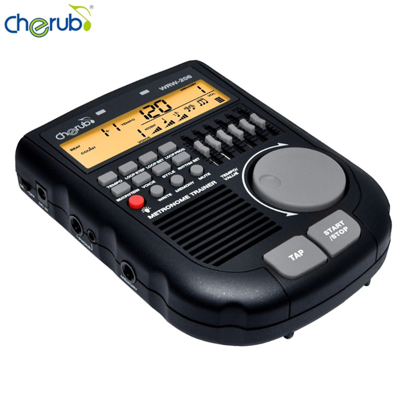 Cherub WRW-206 Digital Drum Metronome Rhythm Editor Professional Multiple Metronome Sounds Loop Play Function Amp Simulator Drum freight free drums and guitar general rhythm marker piano electronic metronome general instrument rhythm auxiliary parts
