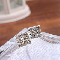 Heat Sell Product Fully jewelled Square Temperament Ear Nail korean Earrings silver 925 jewelry pendientes mujer FEN706 weij