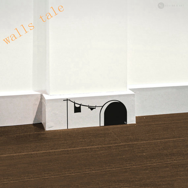 Free Shipping New Cute Cartoon Mouse Home Sticker Wall Decor Mouse Hole    Children Decor Vinyl Part 96