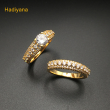Stunning Cubic Zirconia Wedding Bridal 2pcs Cute Finger Ring Set For Woman Love Marriage Dating Jewelry Ring Sets CP349 Hadiyana