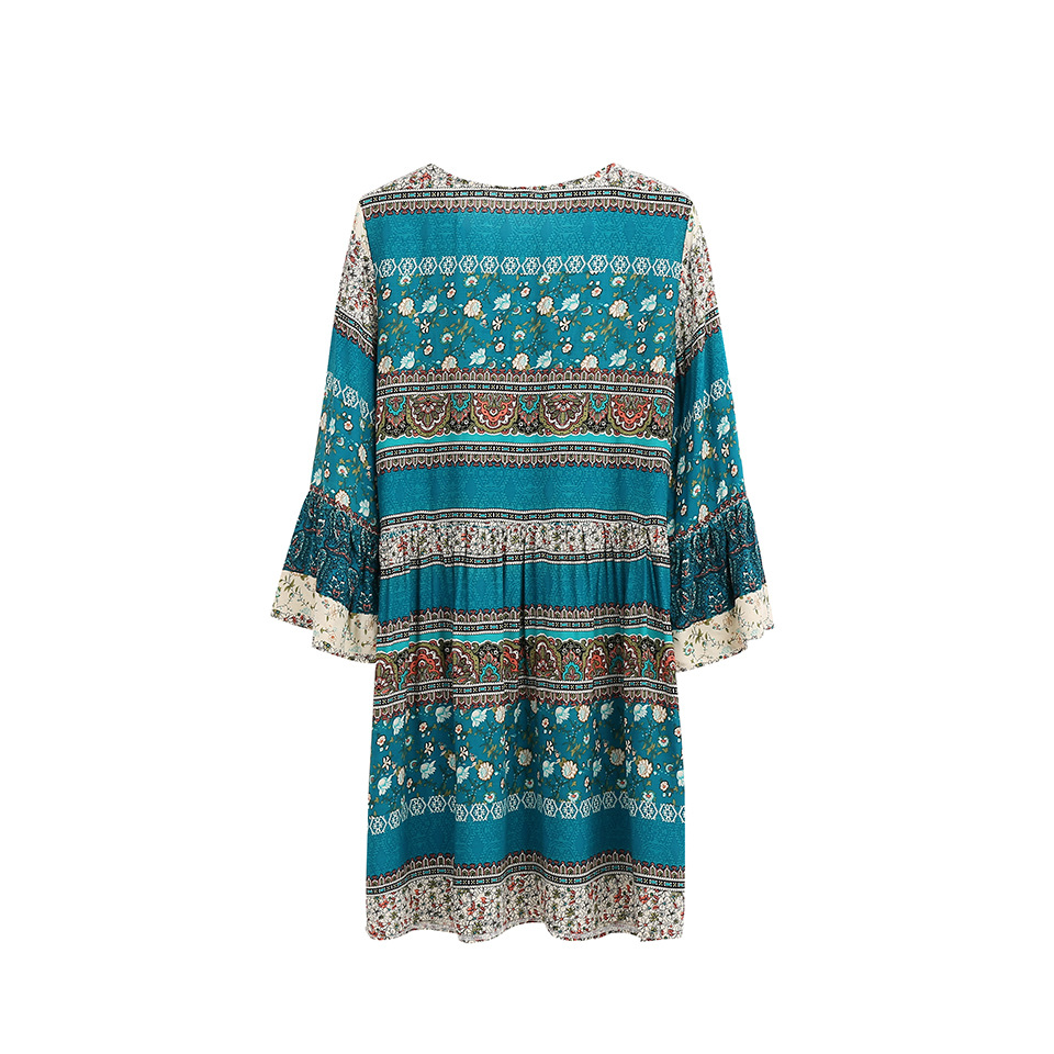 New women street fashion V-neck  flare sleeve bohemian print beach holiday dress  print dress