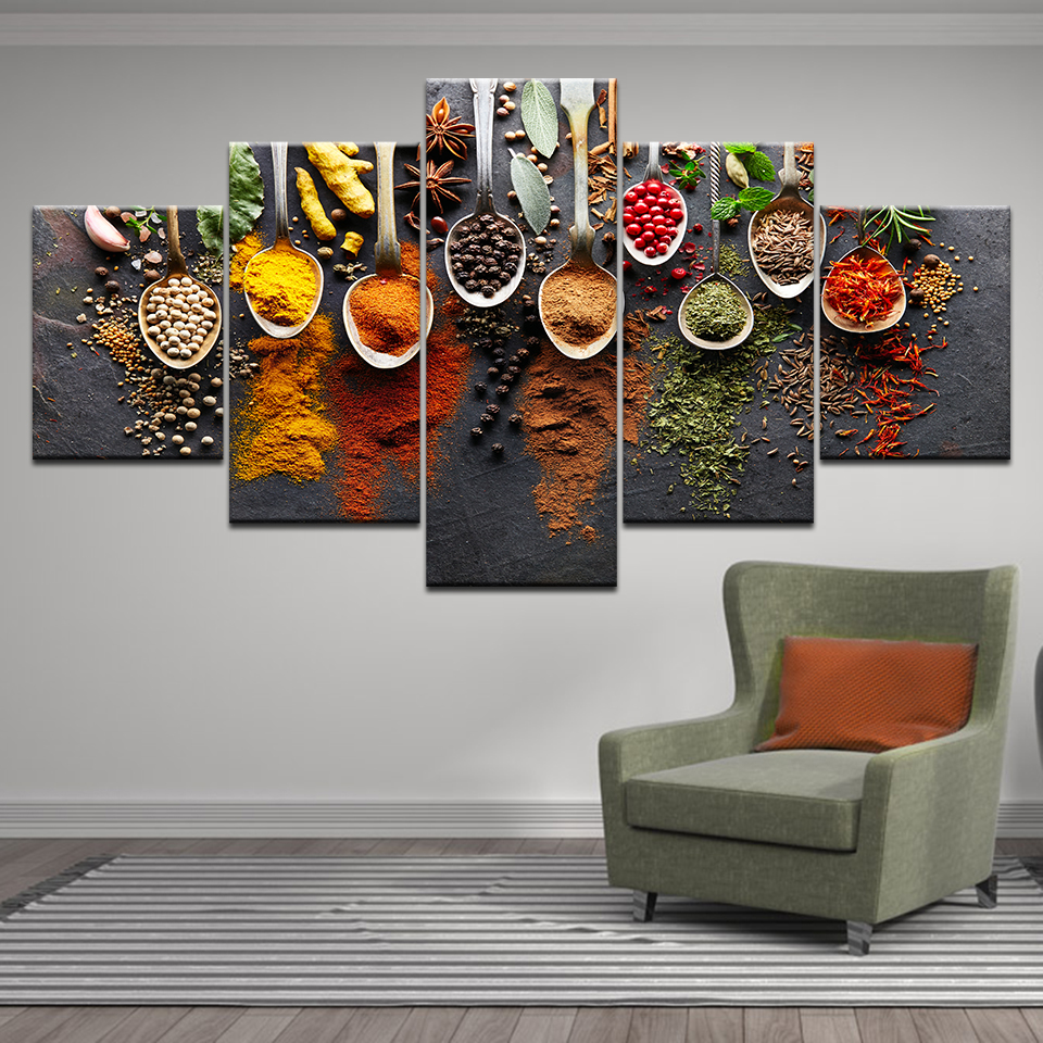 Food Spoon Grains Spices Kitchen Home Decor 5 Pieces HD Print Canvas Painting Wall Art Picture Restaurant bar decoration Posters in Painting Calligraphy from Home Garden