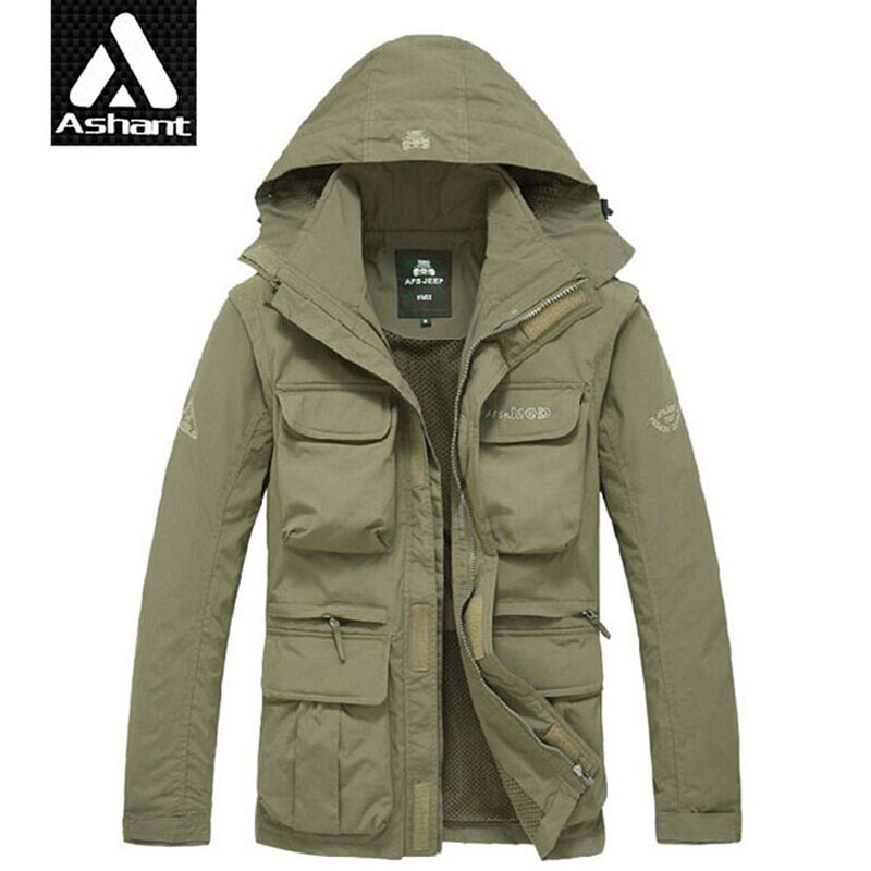 Men Tactical font b Jacket b font Autumn Quick Dry 2 in 1 Man Army Green