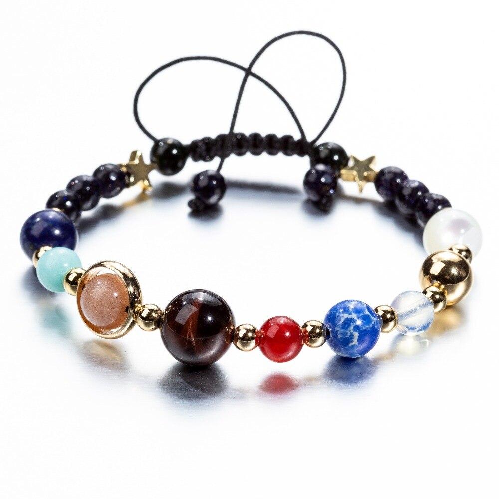 Handgemachte Universum Galaxy Die Acht Planeten In Die Solar System Wächter Sterne Steine Perlen Frauen Wrap Armbänder Armreifen