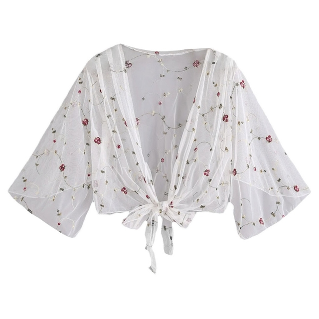 cd529cc20ef Women Tops Open Floral Embroidery Shrug Flowy Sleeve Cardigan Bow-Knot Sheer  White Color