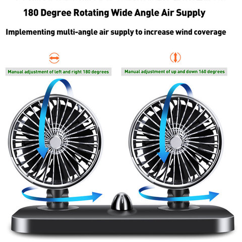 12V/24V Car Auto Air Cooling Fan 2 Speed Adjustable Dual Head Fan Low Noise Car Auto Cooler Air Fan Caravans Car Fan Accessories Karachi