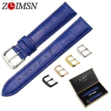 цена на ZLIMSN  Italian Genuine Leather Watch Band Blue Crocodile & Grain Strap Gold Black Silver Rose Gold Needle Buckle12~20mm