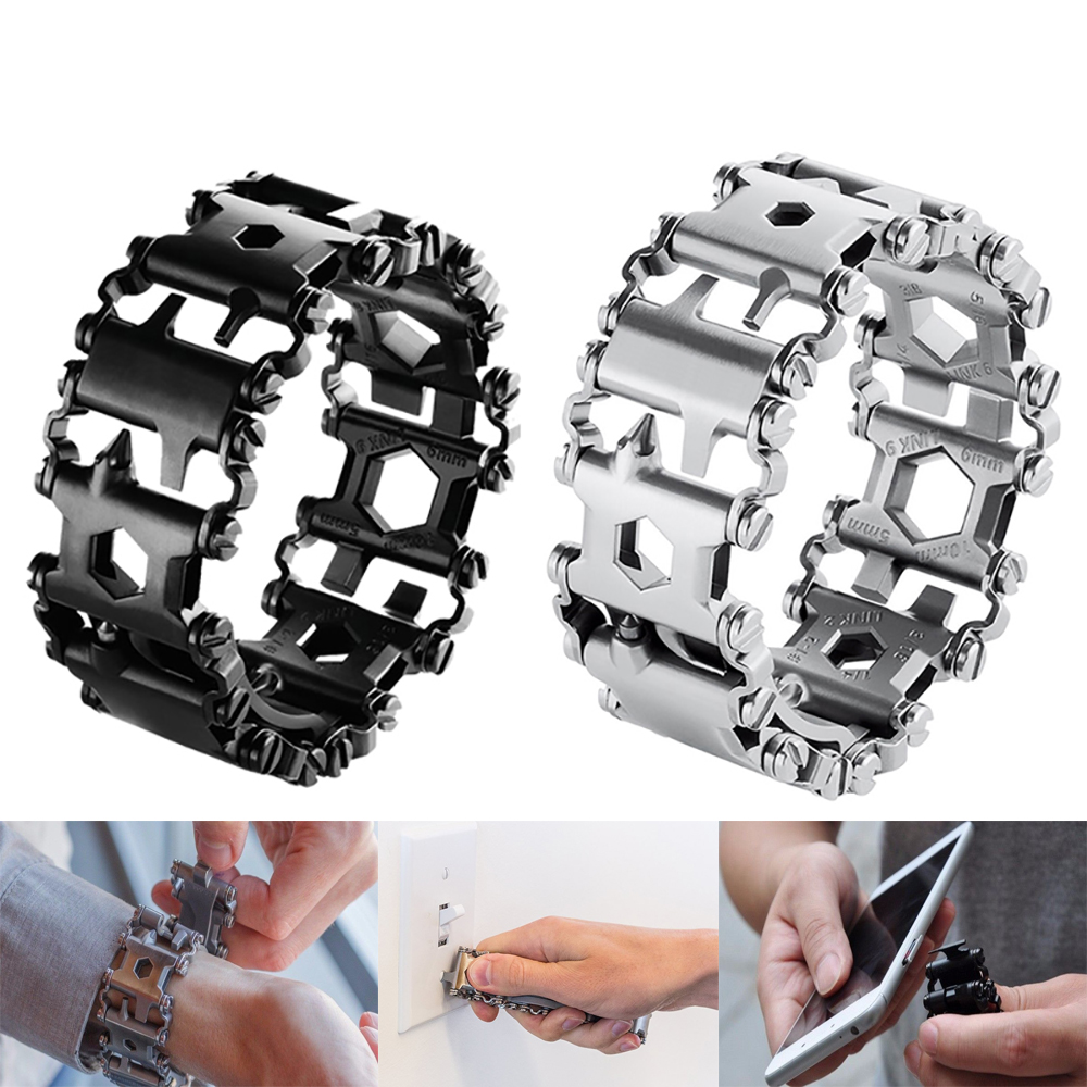29 kinds of Portable tool Men & Women Bracelets Stainless Steel Bracelet Link Design Hiking Camping Survival Outdoor EDC Tools 29 in 1 portable outdoor survival edc tool bracelet multi functional wearable tread stainless steel punk link bracelets strap