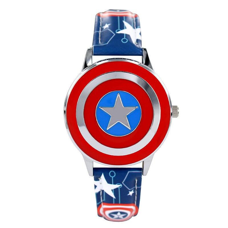 Disney Brand Genuine Leather Children Boys Watches Students Waterproof Original Child Clocks Marvel Anime Captain America Shield