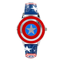 Disney brand Genuine leather children boys watches students waterproof original child clocks Marvel anime Captain America shield