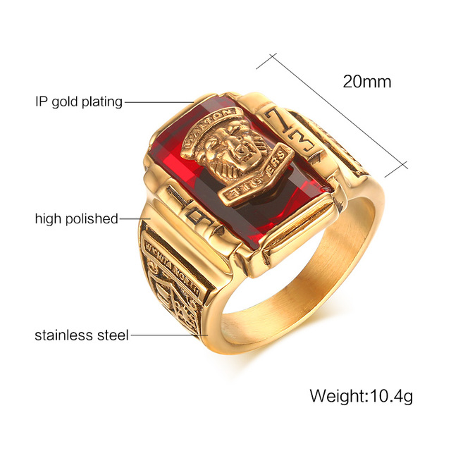Vintage Rock Punk Gold-Color Red Crystal Ring 1973 Walton Tigers Party Stainless Steel Rings For Men 4 Colors