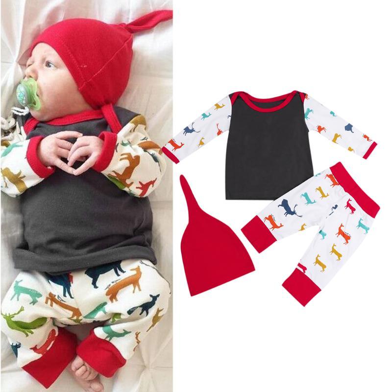 3pcs Baby Christmas Clothing Set Baby Boys Girls Long Sleeve Reindeer Print Top T-shirt + Pants + Hat Outfits