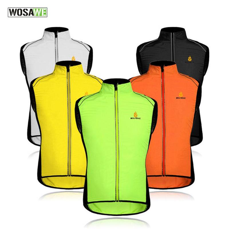 Prix pour WOSAWE Réfléchissant Hommes Cyclisme Gilet Manteau Respirant Veste Sans Manches Sport Survêtement Manteaux Coupe-Vent Imperméable Vêtements K2016
