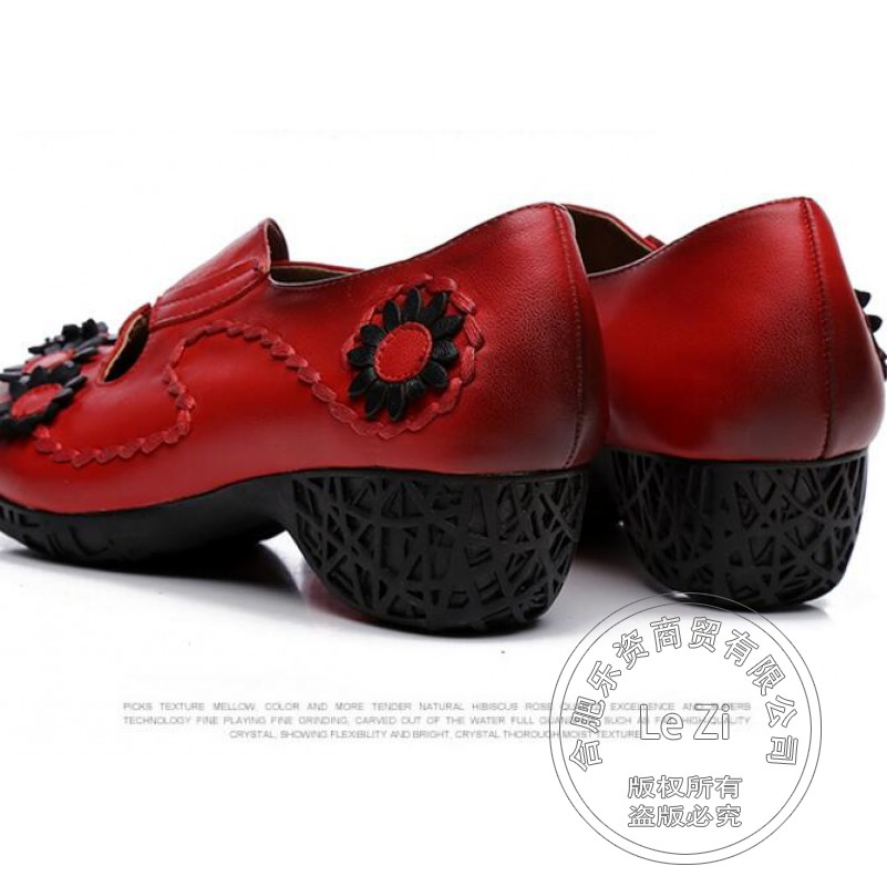 Soft Leather Mori Girl Elegant Vintage Shoes Pastoral Full Grain Leather Ethnic Floral Solid Travel Leather