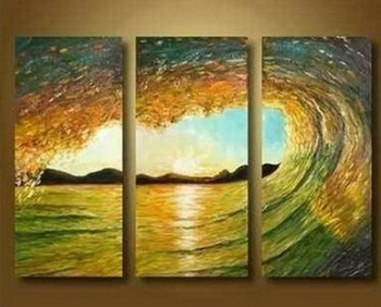 Modern Abstract Art Oil Painting On Canvas - Ocean Waves Surf (no framed)