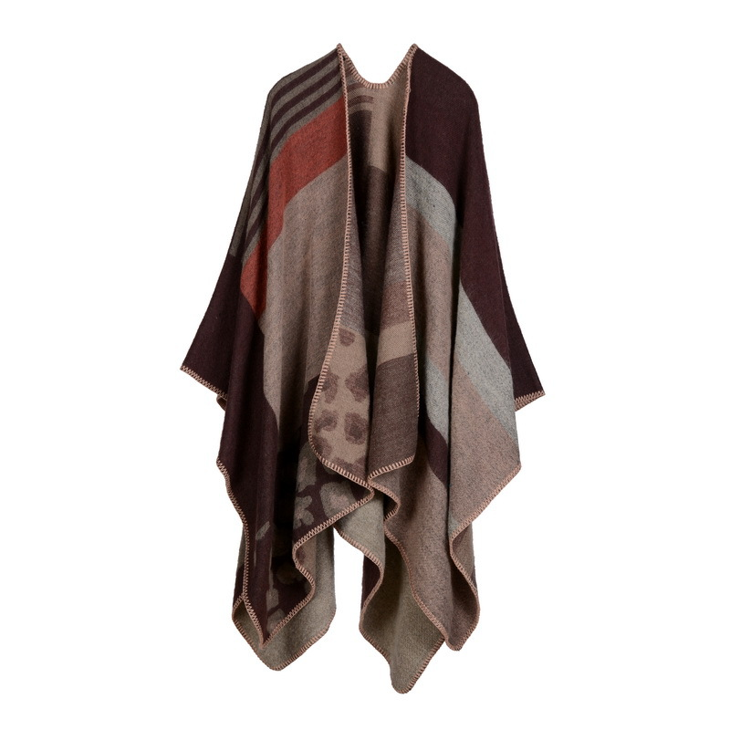 Women British Style Poncho Winter Scarf Tassel Cardigan Coat Knitted Ponchos And Capes Warm Shawls Scarves Femme T4 Sweaters