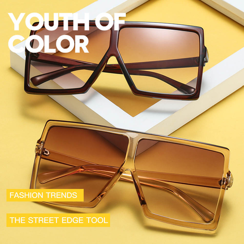 Retro Square Sunglasses Steampunk Men Women Brand Designer Classic Polarized Oversized Frame Gradient Lens