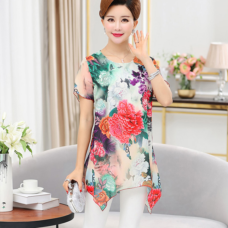 45d7d2f6cc6 new Middle age mother clothing spring plus Size Chiffon short sleeve shirt  lady summer blouse female loose women s pullover tops