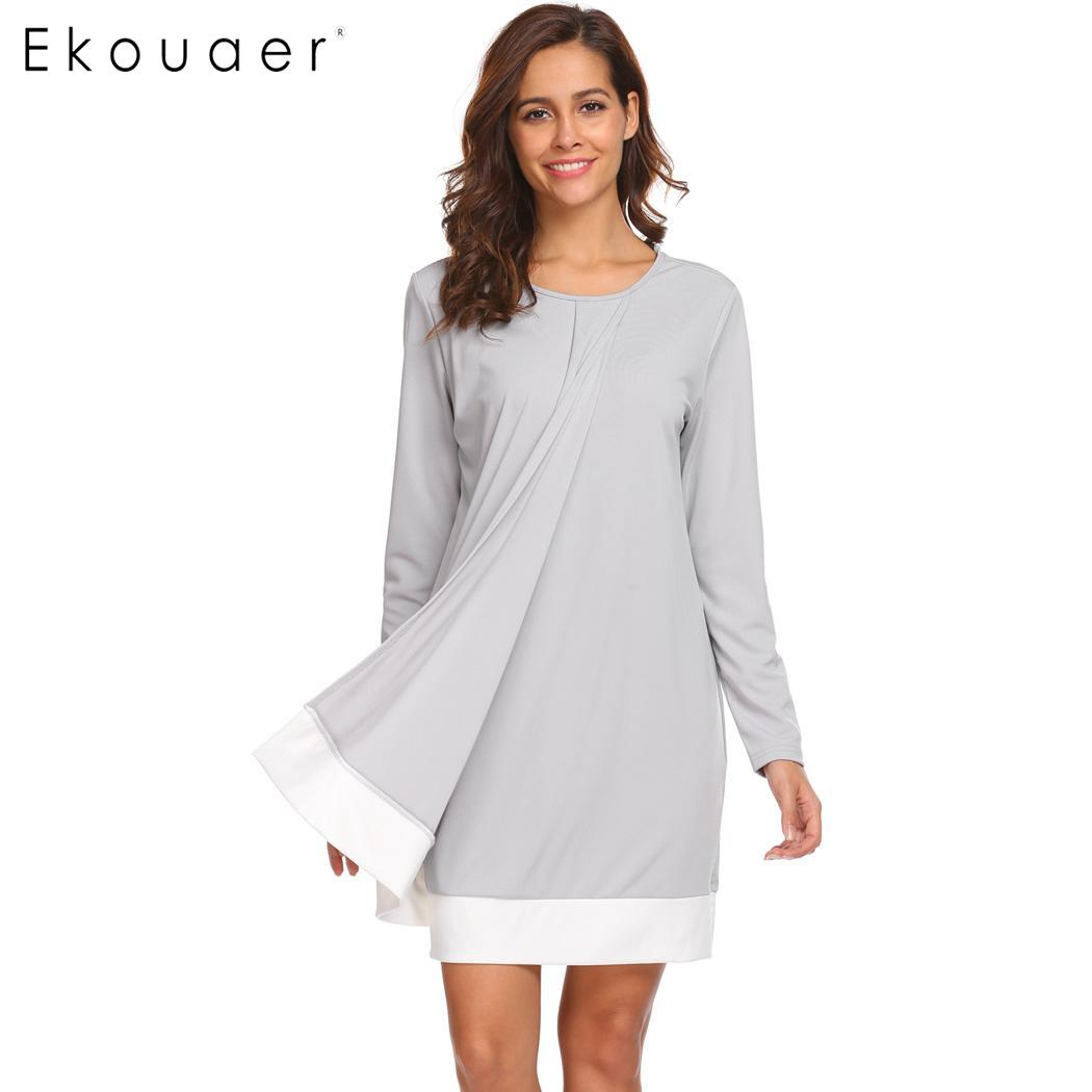 Ekouaer Women Nightgown Autumn Sleepwear Contrast Color Round Neck Long Sleeve Loose Night Dress Female Nightwear