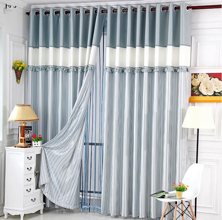 3m new printed stitched window curtain pink blue yellow for B m living room curtains