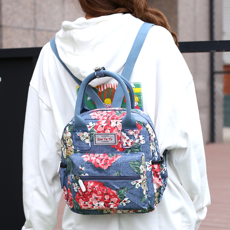 2018 New Women Bag Softback Double Shoulder Bag Designer Floral Backpacks High Quality Nylon Female Small MINI Flowers Backpack new fashion women bag messenger double shoulder bags designer backpack high quality nylon female backpack bolsas sac a dos