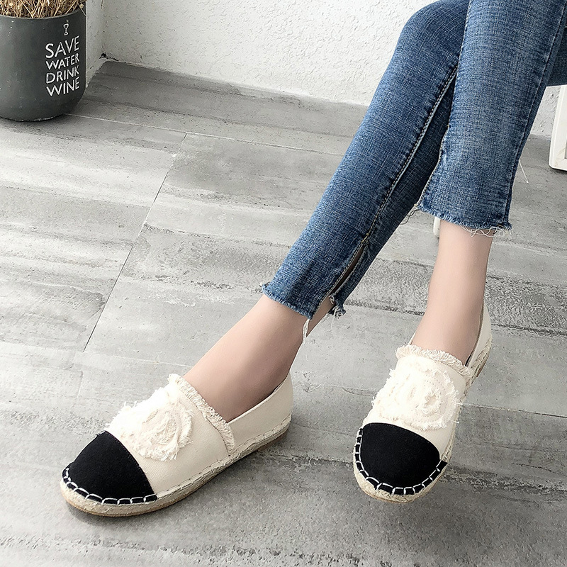 2019 autumn new hand stitched black fisherman shoes Women 39 s thick soled straw canvas retro breathable casual joker flat loafers in Women 39 s Flats from Shoes