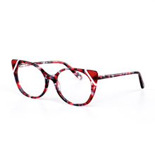 New fashion floral women glasses frame optical acetate cat eye clear eyeglasses