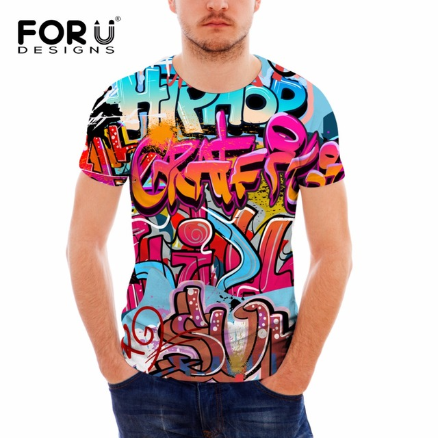 FORUDESIGNS Short Sleeve T Shirt Male 3D Graffiti Pattern