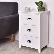 3 Drawers End Storage Wood Side Nightstand MDF Paulownia wood White Black Bedroom High Quality Nightstands HW56016(China)