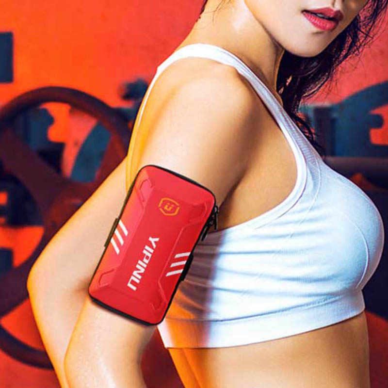 Pria Wanita Lari Tas Penuh Tahan Air Lengan Dompet Olahraga Kantong Pemegang Telepon Paket untuk Memancing Kebugaran Tas dengan Headset lubang