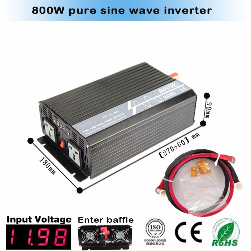 Promotion 800W solar power inverter, dc 12v/24v to ac 100v/110v/120v/220v/230v inverter invertor, pure sine wave inveretrs