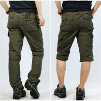 ICPANS Pants Loose Quick Dry Khaki Cargo Pants Men Elastic Waist Summer Casual Army Green Tactical