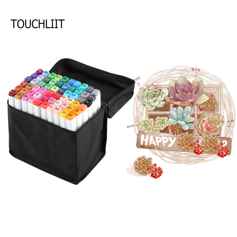 TOUCHLIIT Double-headed alcohol Based Marker Pen Artist Sketch Marker Animation Drawing Design Marker Pen Set for Student Artist double sidetouchliit 7 alcohol oil based marker full set 7 168color set in bags