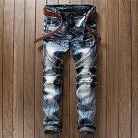 2017 Spring New Men Jeans Ripped Biker Hole Denim robin patch Harem Straight punk rock jeans for men Pants