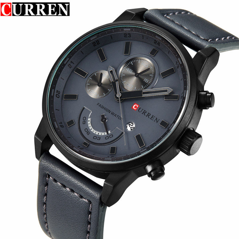Men's Fashion Casual Sport Quartz Watch Men 2017 Curren Watches Mens Brand Luxury Leather Waterproof Clock Man Relogio Masculino curren watches mens brand luxury quartz watch men fashion casual sport wristwatch male clock waterproof stainless steel relogios