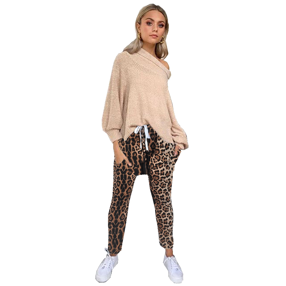 New Stylish Women Leopard Print Belt   Pants   Trouser Loose Fashion Skinny   Pant   Gift