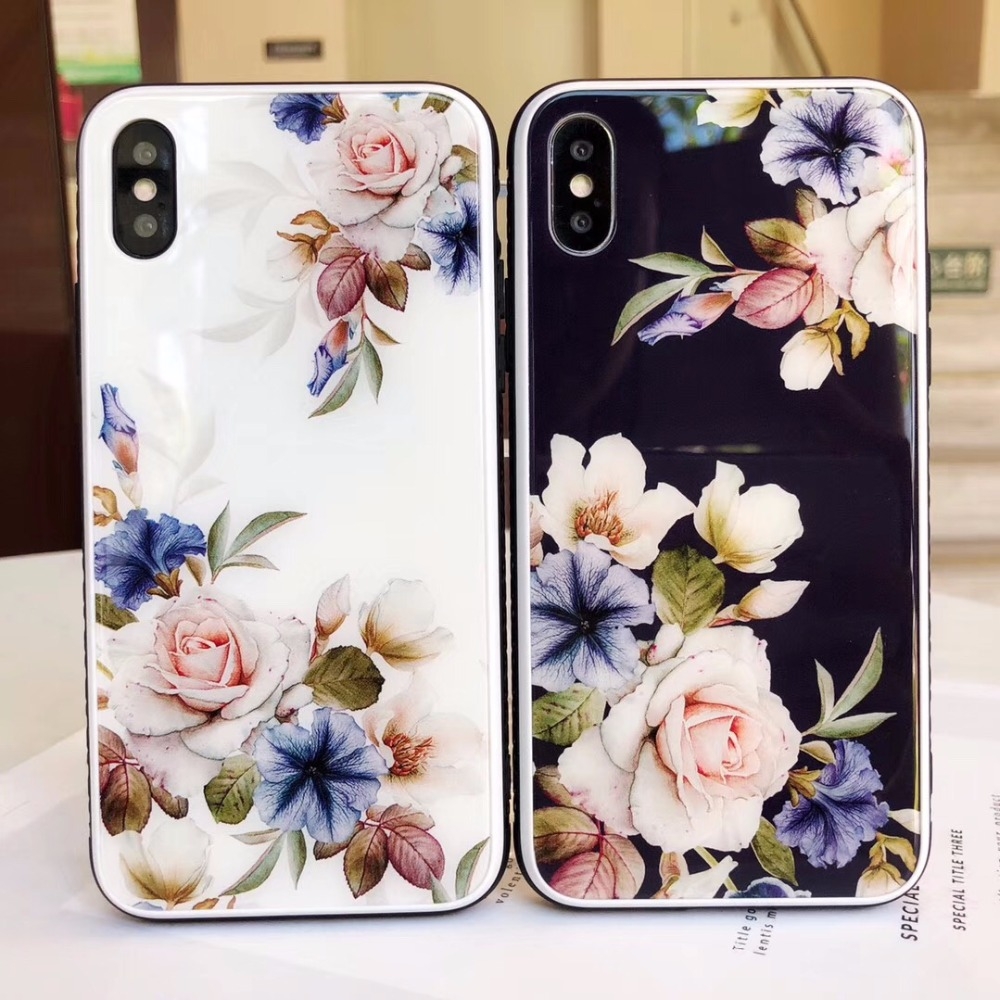 Luxury Case For IPhone X 6 6s 7 Coque Glossy Flower Rose Tempered Glass Back Cover For IPhone XR