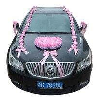 Genie אדום מלאכותי קצף רוז פרחים לחתונה רכב ידית דלת סט קישוט צורת לב זוגי הגדול דקור וגינה פרחים מזויפים