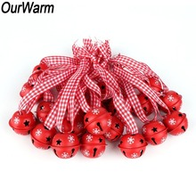 OurWarm 20Pcs DIY Craft Red Metal Snowflake Jingle Bell Christmas Tree Hanging Ornament Merry Bells Noel Decoration
