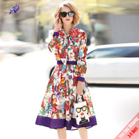 New Designer Suits Set Women's Long Sleeve Bow Collar Blouses and Elegant Flowers Print Casual Skirt Two Piece Set Free Express