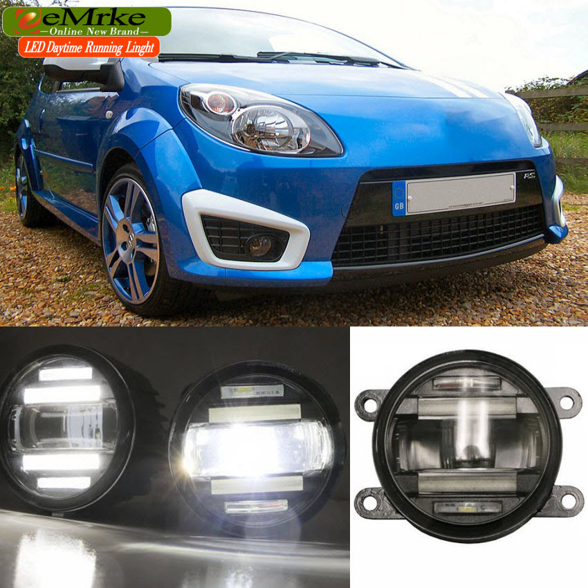 eeMrke Xenon White High Power 2in1 LED DRL Projector Fog Lamp With Lens For Renault Twingo 2 3 2008-2016 eemrke xenon white high power 2 in 1 led drl projector fog lamp with lens daytime running lights for renault kangoo 2 2008 2015