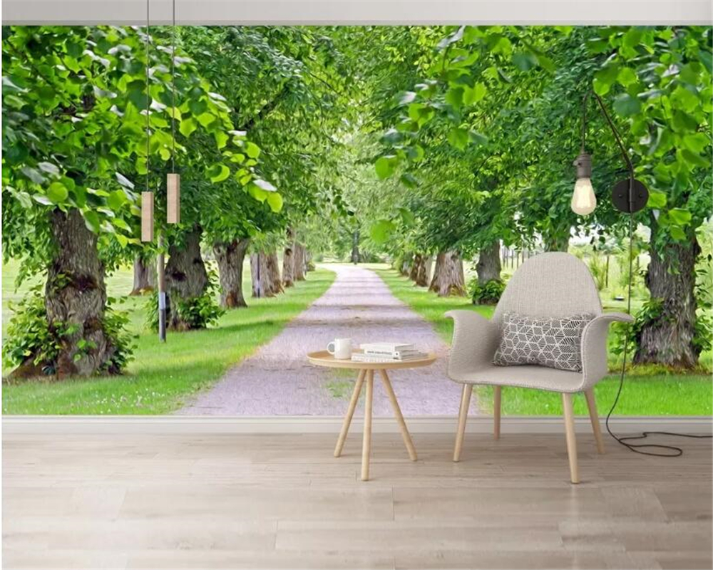 US $8 85 OFF Beibehang Custom Wallpaper Fresh Natural Scenery Greenery HD Green Shade 3D Mural TV Background Wall 3d Wallpaper Papier