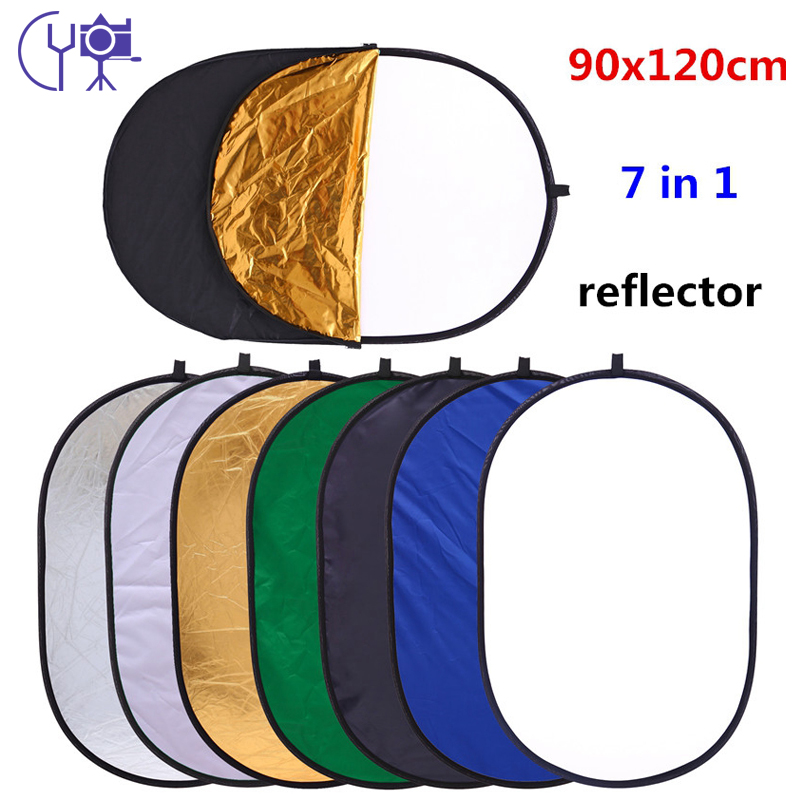CY Ilmainen toimitus 90x120cm 7 in 1 Multi Photo Oval Ellipse Collapsible Light Reflector Portable Photography Studio Heijastin