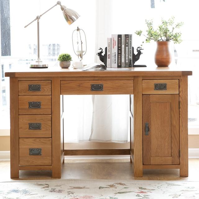 Studio tavolo mobili in rovere bianco in legno massello scrivania ...