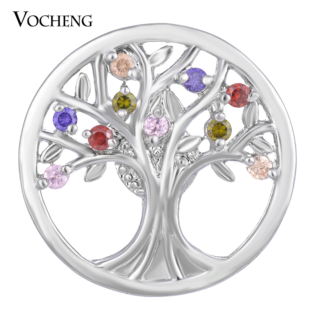 10PCS/Lot Vocheng CZ Stone Snap Charms Family Tree 4 Colors 18mm Copper Button Jewelry Vn-1409*10