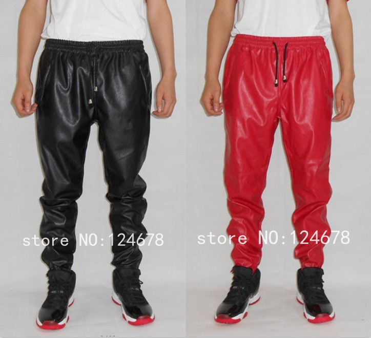 fashion leather sweatpants men hip hop faux leather pants