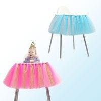 아기 Chinlon 명주 테이블 의자 스커트 천 생일 용품 장식