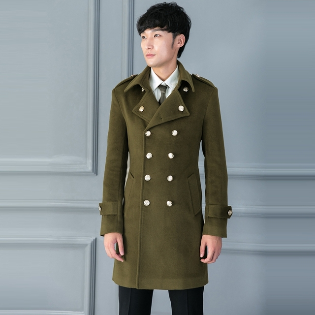S~5XL New Male Clothing Plus size wool coat navy style olive ...