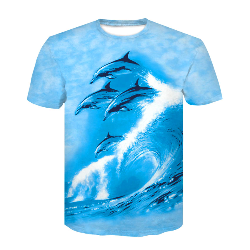 Summer New Short-sleeved T-shirts For Men And Women Casual Half Sleeve Print T-shirts, Surf Dolphins Pattern T-shirts