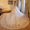 Роскошные 2 М Королевский Поезд Свадебное Платье с Рукавами с плечо Тюль Бальное платье Свадебное Платье Lace 2017 Плюс Размер Casamento
